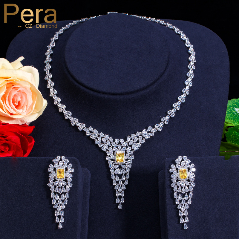 Pera CZ Vintage Big Yellow Cubic Zirconia Pear Shape Luxury Women Party Long Drop Chocke Necklace Jewelry Set For Wedding J140 pera newest big vintage hollow out design yellow cubic zircon round drop pendant necklace and earrings set for luxury women j199