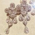 Alta qualidade marca de moda jóias rainha Portarit cristal cruz brincos mulheres luxo barroco cruz Tassel oscila o brinco