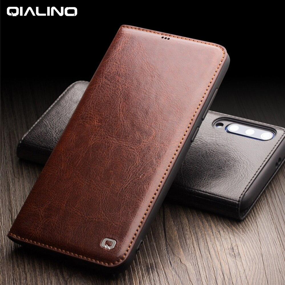 100% Genuine Leather Case For Xiaomi Mi 9 Case 100% Cowhide Flip  Leather Case For Xiaomi Mi9 Mi 9 Transparent Edition CoverFlip Cases