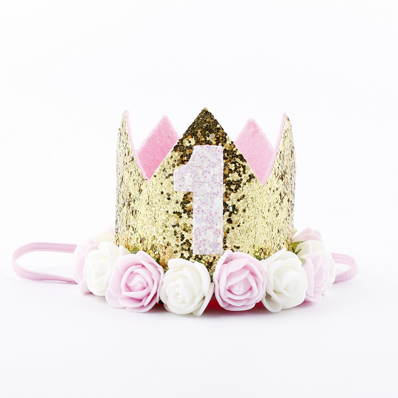 Baby Girl Kid Baby Shower Party Hat Flower Princess Crown Decor Hair Accessory