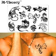 M-theory Temporary Tattoos Body Arts Black Dragons Flash Tatoos Sticker 17x10cm Tatto Bikini Swimsuit Dress Makeup Tools