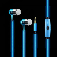Universal 3 5mm In Ear Headphones Metal Luminous Heavy Bass Music Stereo Earphone With Microphone For