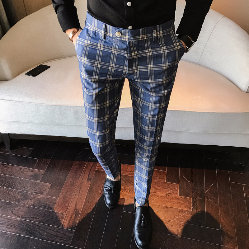 Men Dress Pant Plaid Business Casual Slim Fit Ankle Length Pantalon A Carreau Homme Classic Vintage Check Suit Trousers Wedding