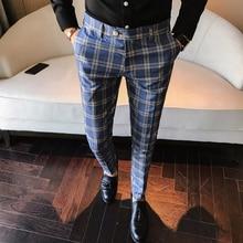 Plaid Casual Slim Fit Ankle Length Pants