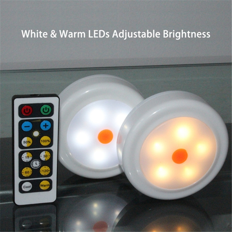 Smuxi Led Night Lights 2pcs/4pcs Round Remote Control LED Cabinet Wardrobe Lights Battery Power White/Warm White Dimmable Timing