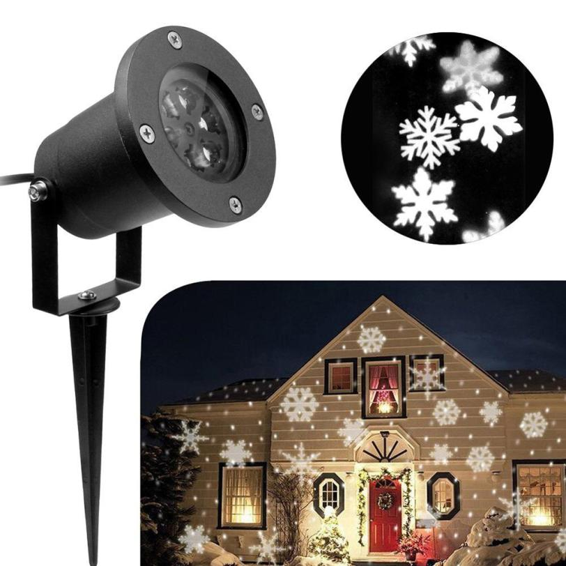 Outdoor Waterproof LED Light lamps Projector White Moving Snowflake 11.20