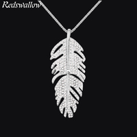 Famous Brand Necklace Gold jewelry for girl long necklace women crystal feather pendant women's Trendy Zinc Alloy Sweater chain