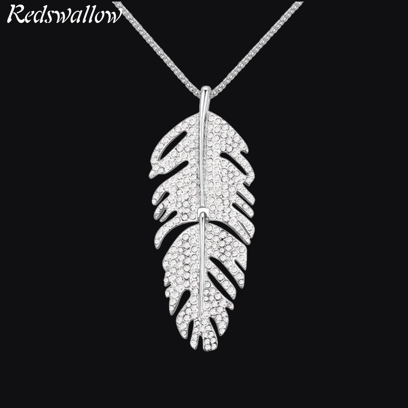 все цены на Famous Brand Necklace Gold jewelry for girl long necklace women crystal feather pendant women's Trendy Zinc Alloy Sweater chain