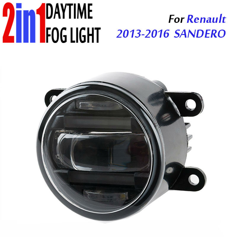 for Renault sandero 2013-2016 3.5 90mm Round LED Fog Light Daytime Running Lamp Assembly LED Chips Fog Lamp DRL Lighting Lens