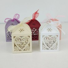 50Pcs/set Love Heart Shape Laser Cut Hollow Carriage Favors Gifts Candy Boxes With Ribbon Wedding Anniversaries Party Supplies