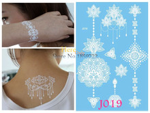 1PC Women Wedding Tattoo White Henna Flower Arm Hand Neck Makeup Flash Fake Tattoo Jewelry Waterproof Temporary Tattoo Stickers