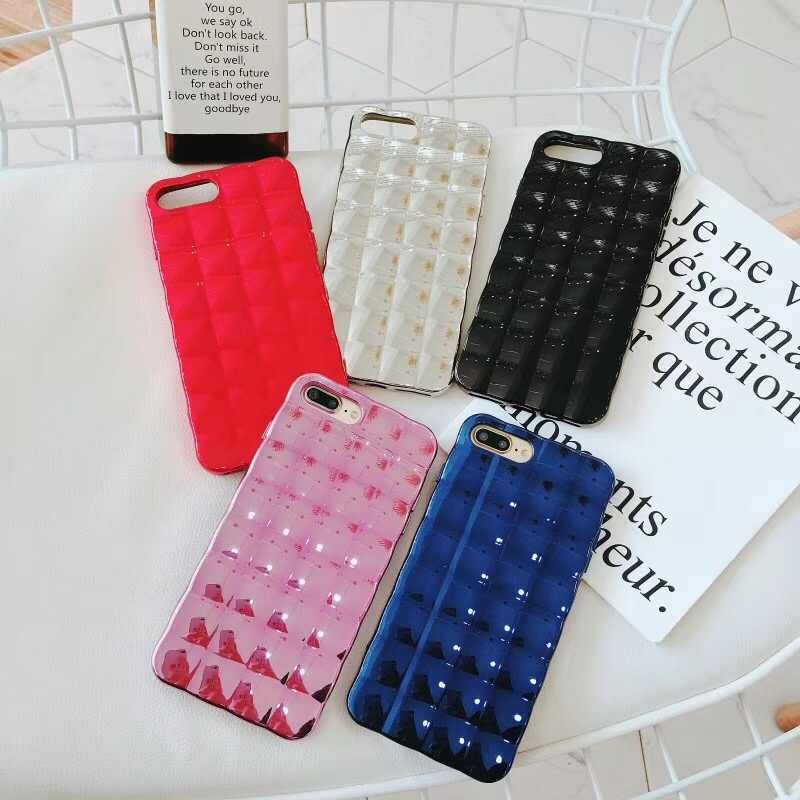 Luxury Bling Plating Square Grid Silicone Phone Cases for iPhone 7 8 6 6s  Plus X 0e9b72f14c08