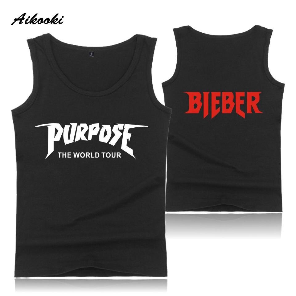 Aikooki Justin Bieber Weste Männer Frauen Beiläufiges Sleeveless Beliebte Baumwolle Tank Top Hip Hop Sommer Männer Frauen Fashion Vest Drucken Tops