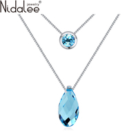 2016 New Teardrop Shaped Pendant Crystal Necklaces Crystal From Swarovski For Women Wedding Jewelry Accessories Nidalee