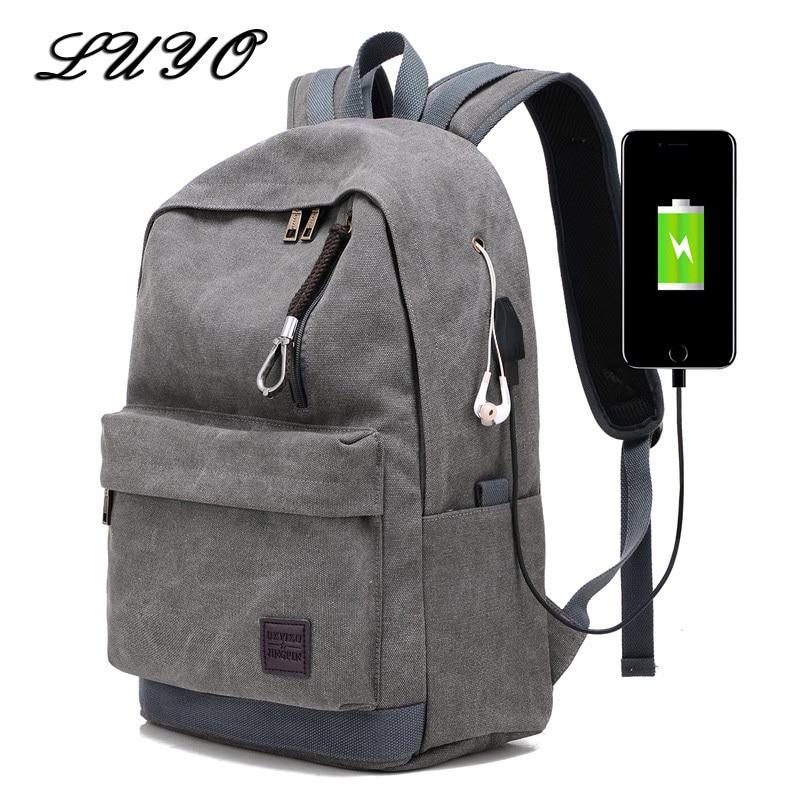 662930af0d7e 2018 для женщин мужчин холст Usb Мужской Рюкзаки школьные ранцы для  подростка обувь мальчиков девочек Путешествия сумка для ноутбука Mochila