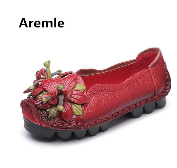 2018 Hot National Wind Flowers Handmade Genuine Leather Shoes Women Retro Soft Bottom Flat Shoes Summer Canvas Ballet Flats Free vintage embroidery women flats chinese floral canvas embroidered shoes national old beijing cloth single dance soft flats