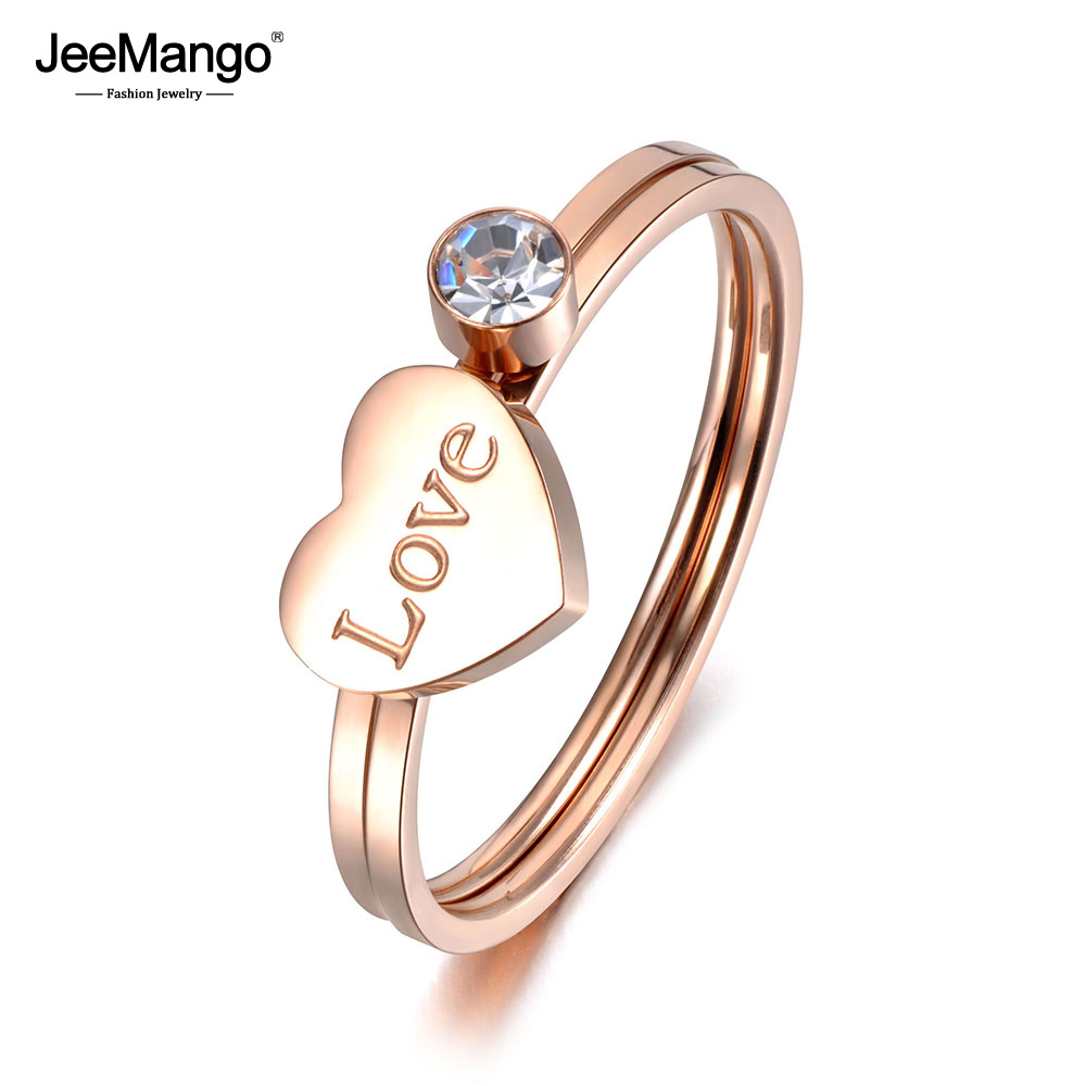 JeeMango Trendy 2 In 1 Titanium Stainless Steel Love Heart Ring Rose Gold CZ Crystal Anniversary Rings For Women Girls JR19026
