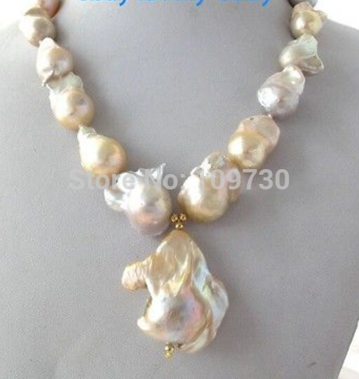 купить Jewelr 003028 Natural Light Pink Lavender Unusual Keshi Keishi Baroque Pearl Necklace&Pendant