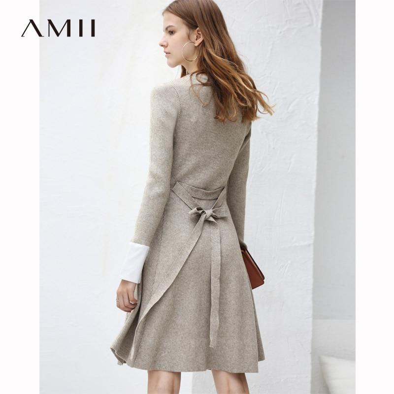 Amii Women Minimalist 2018 Autumn Dress Chic Waist Belt Knitted Patchwork Office Lady Original Design Female