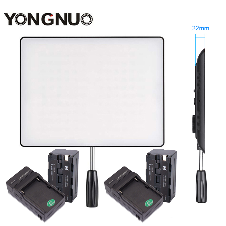 YONGNUO YN600 Air 3200K-5500K LED Camera Video Light Photography Studio Lighting +2x Charger +2X NP-F750 Battery