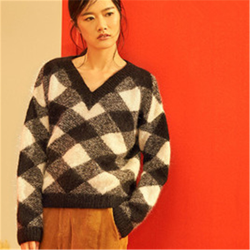 100% Hand Made Wool Knit Women Casual Vneck Argyle Contrast Color H-straight Pullover Sweater One&over Size