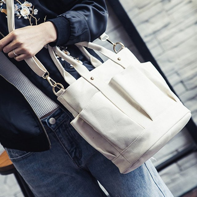 Fashionable Female Solid Color Handbags Women Casual Canvas Tote Bags Vintage Women Handbags Ladies Crossbody Bags 3