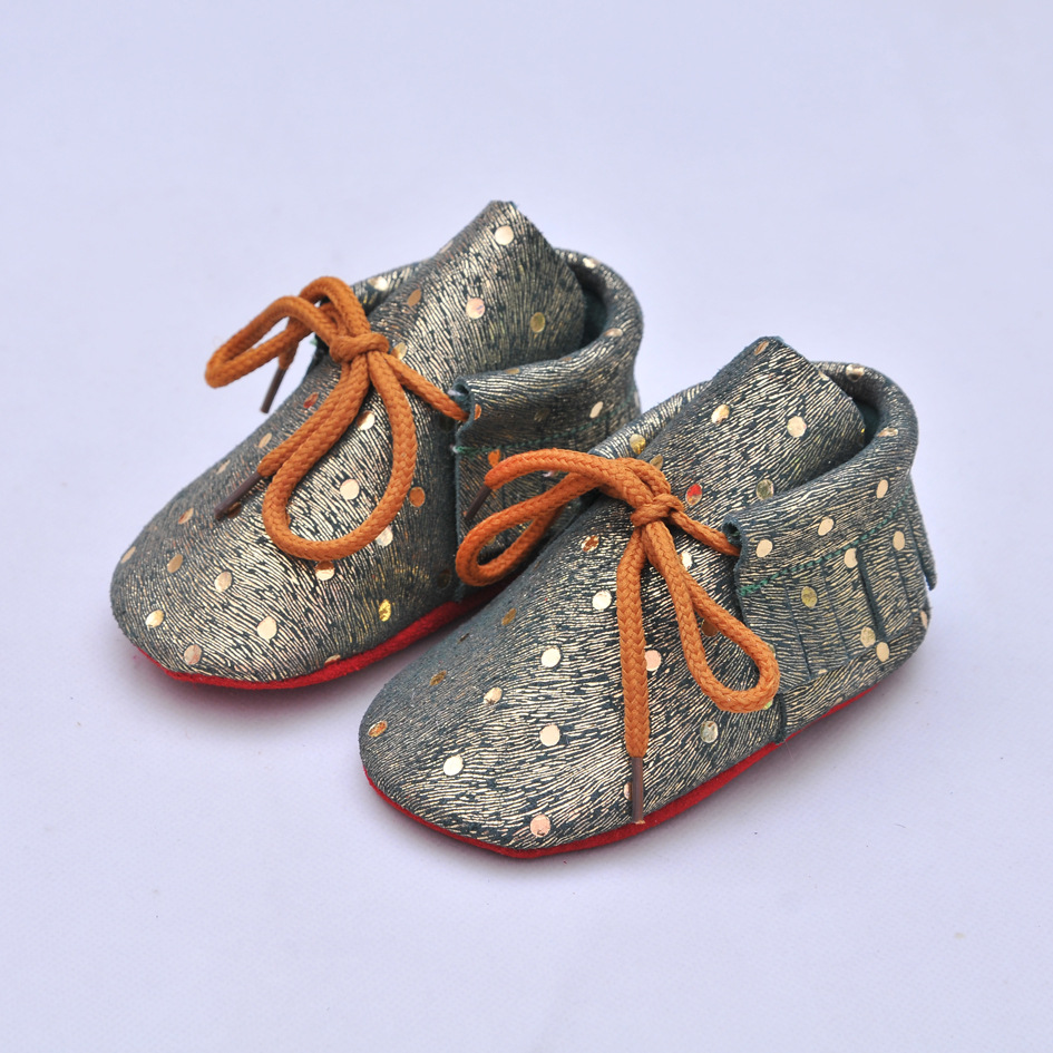 Fashion 100% Genuine Leather Baby Moccasins Shoes lace-up