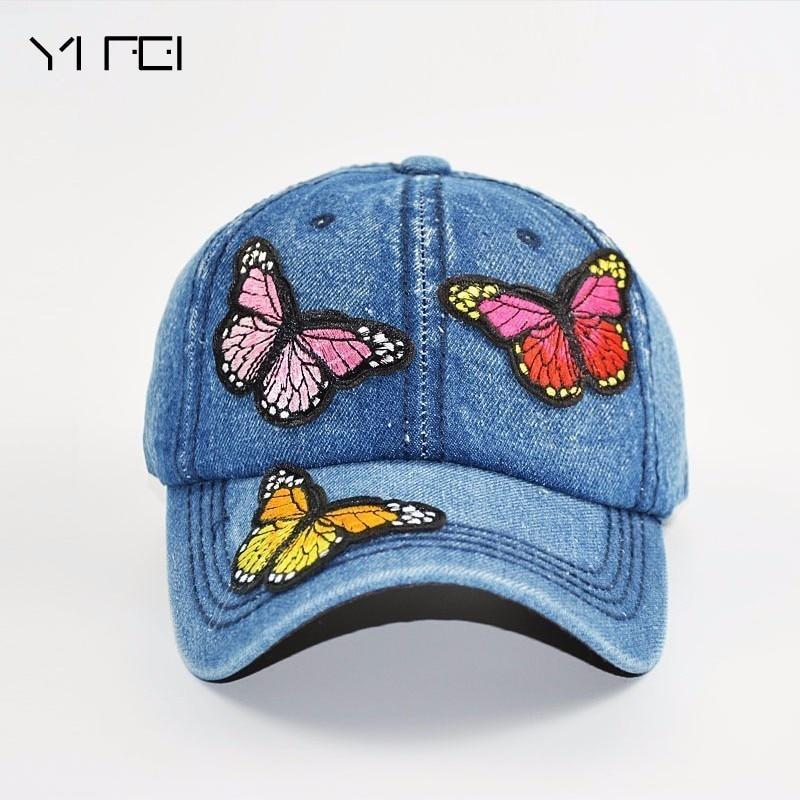 Butterflies 3D Embroidered Baseball Caps 2018 New High-quality Wash Cowboy Baseball Cap Women's Fashion Summer Autumn Hat Cap