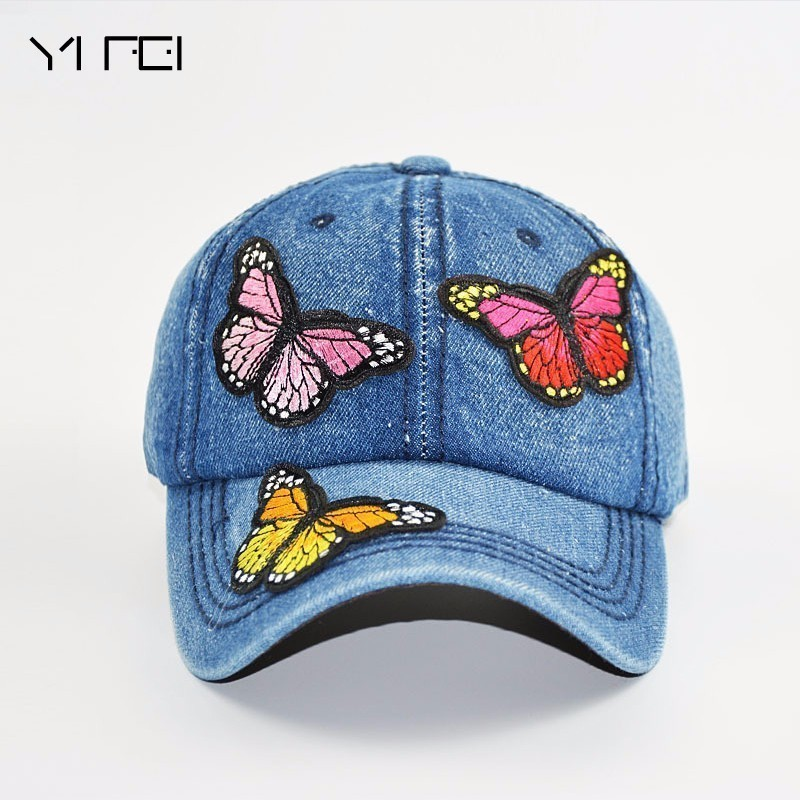 Butterflies 3D Embroidered Baseball Caps 2018 New High-quality Wash Cowboy Baseball Cap Women's Fashion Summer Autumn Hat Cap