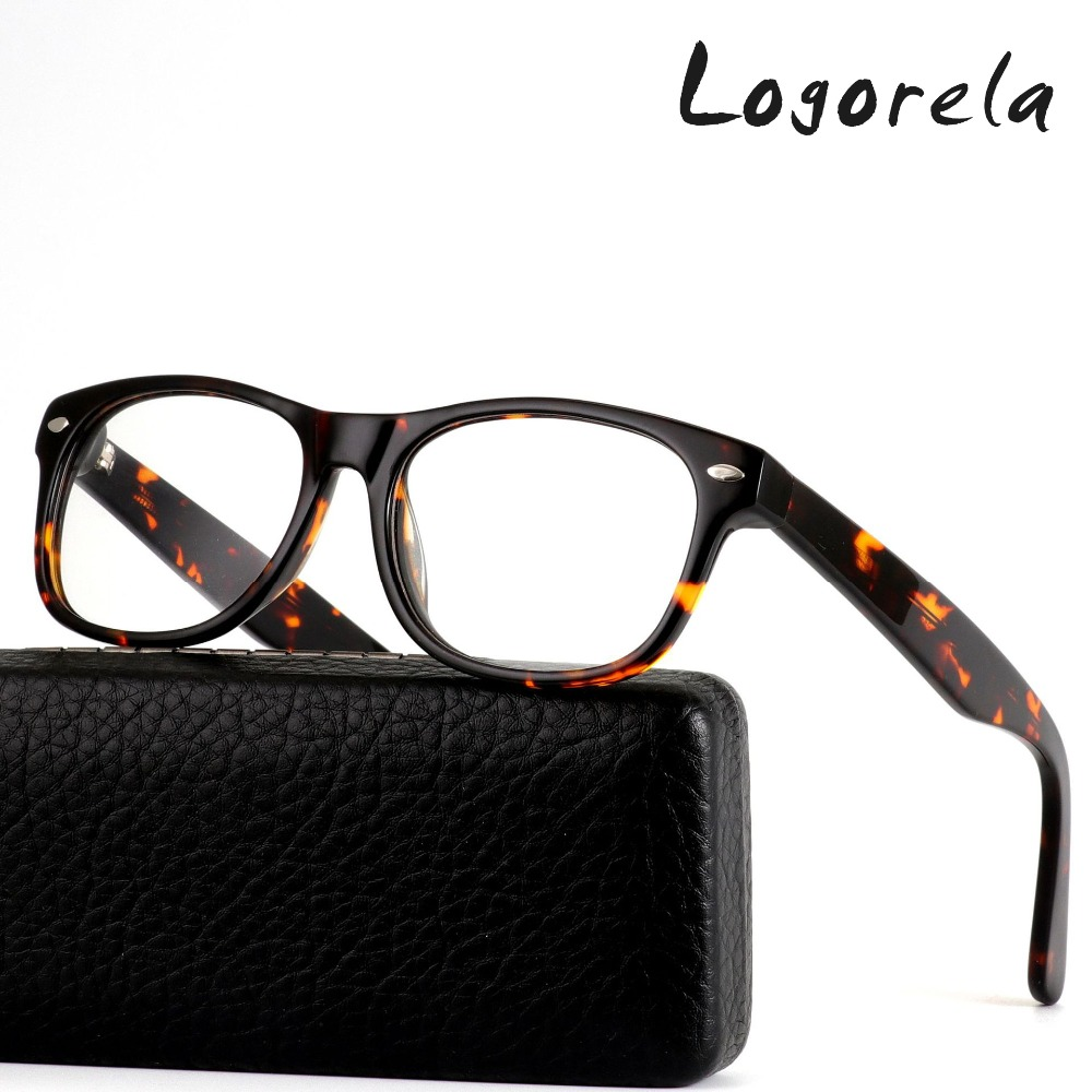 Logorela Acetate Eyeglasses Optical Glasses Frame Computer Glasses Full-Rim Men Women Prescription Eyeglasses 2 Colors