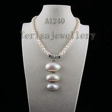 Terisa pearljewelry AA 8-9 мм белый цвет пресноводный жемчуг ожерелье большой размер натуральный корпус ювелирные изделия идеальный женский подарок