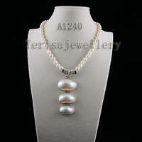 Terisa Pearljewellery AA 8 9MM White Color Freshwater Pearl Necklace Big Size Natural Shell Jewellery Perfect Lady's Gift