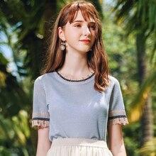 AcFirst Summer Women Tops Casual Blue T-shirts Knitting Shirt O-Neck Short Plus Size T Shirt Women Cotton Sexy Tee Hollow Out simple women s hollow out long sleeves t shirt