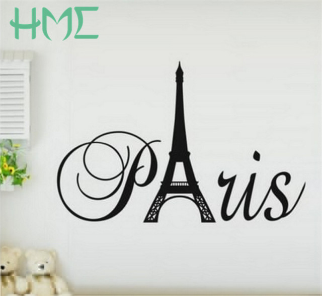 1 Pcs Romantic Paris Wall Sticker Eiffel Tower Beauty Word Creative Wall  Art Decal Home Decor