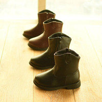 New Leather Shoes Children's Shoes Boots Simple Tube Short Boots Cotton Shoes Girls Boys Snow Boots