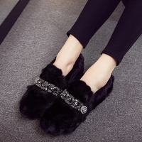 Loafers Women Flats Heel Shoes Warm Mink Fur Winter Round Toe Female Ladies Casual Slip On