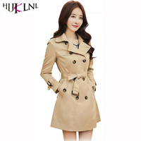 HIJKLNL 2017 Autumn Women Long Trech Coat With Belt Lady Elegant Double Breasted Slim Outwear Windbreaker
