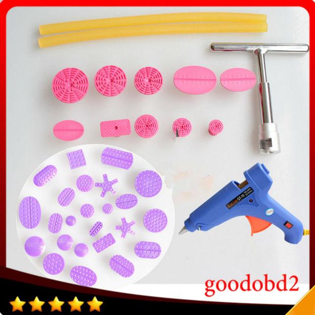 Car PDR dent repair tool set Paintless Hail Repair T Bar Lifter Removal+34x glue Puller Tabs  glue gun 100W+2x glue sticks 260mm