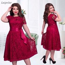 Large Size 2018 Spring Summer Dress Big Elegance Fit and Flare Empire Mid-calf Lace Sashes Party Dresses Plus 6XL