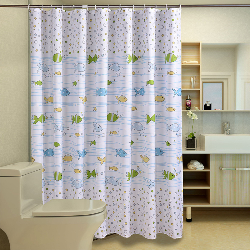 Fish Design Bathroom Shower Curtain Waterproof Moldproof Polyester Fabric  Modern Bath Shower Curtains Rug Mat 12hooks Set