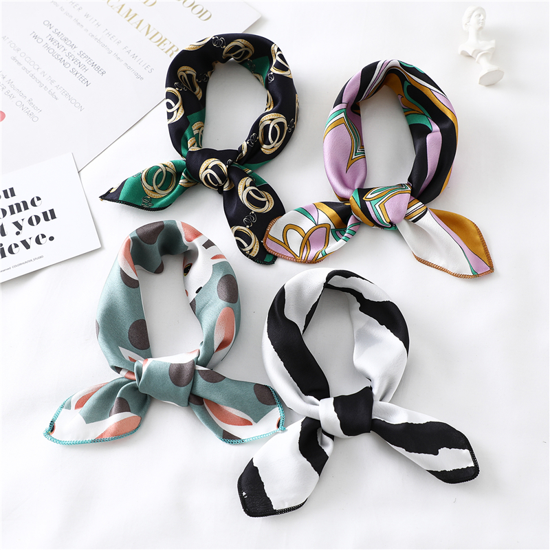 2019 New Women Silk Scarf Square Foulard Lady's Neck Hair Scarves Design Printed Head Kerchief Fashion Girl Hair Scarfs