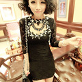 autumn Winter fashion Women's Lace diamond Shirts Stand flower Collar Lace Blouse Shirts long sleeve sexy tops Black/White