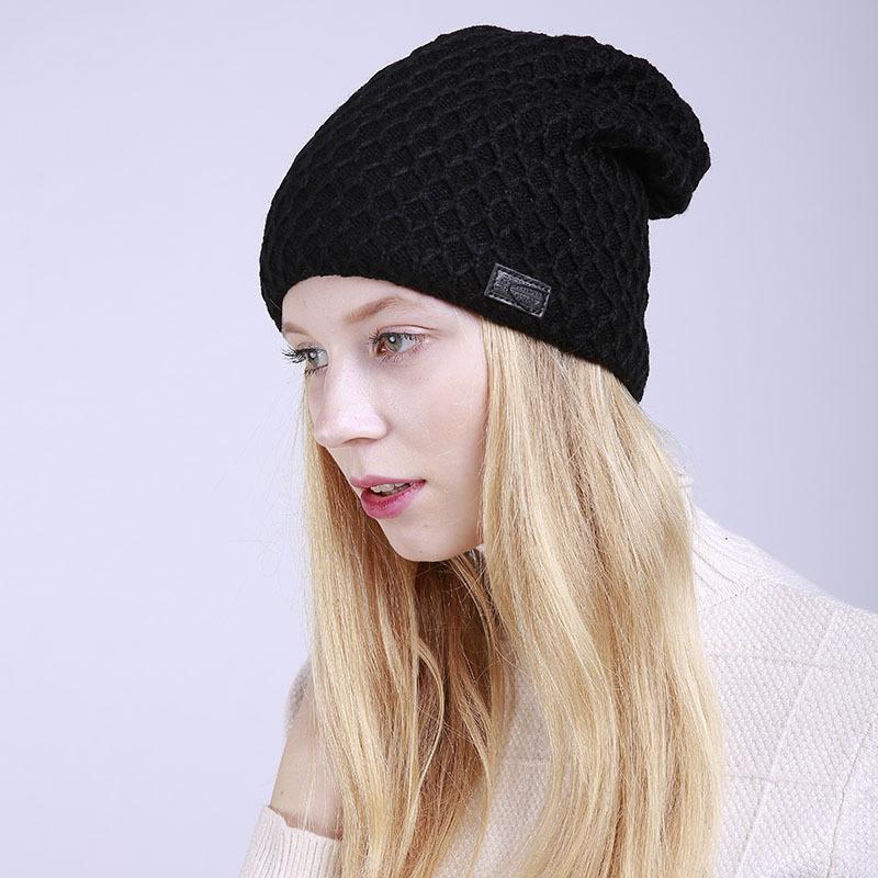 efcbd2fa 2018 Women Winter Cap Fleece Slouchy Beanie Hat Thicken Cashmere Hat ...