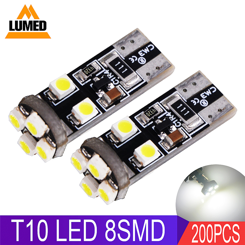 200x T10 LED W5W Car light Bulb LED Auto Interior Side light Wedge Door License Plate