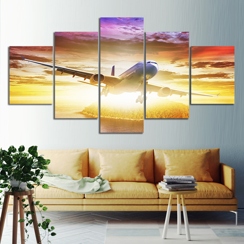 5 Piece Airplane Flying Nature Scenery Sunset Landscape Oil Paintings Wall Art for Home Decor 1