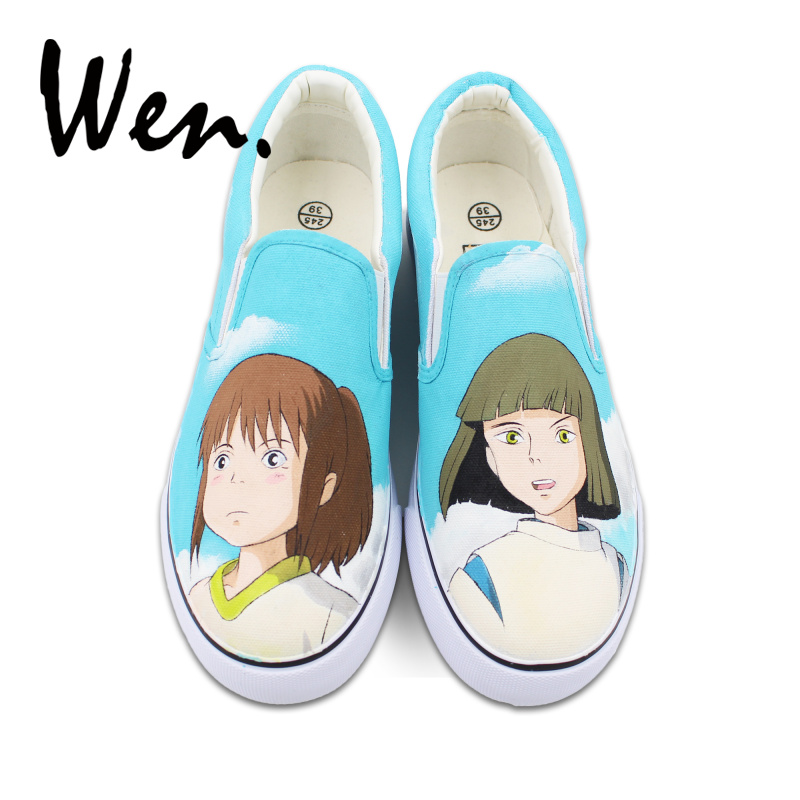 Wen Women Anime Design Vulcanized Shoes Spirited Away Hand Painted Canvas Shoes Slip-on Platform Sneakers Shallow Mouth Flat