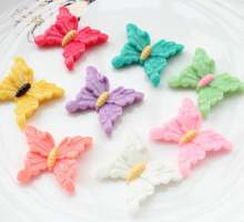 100 шт разноцветные большие Кабошоны бабочки из смолы плоские