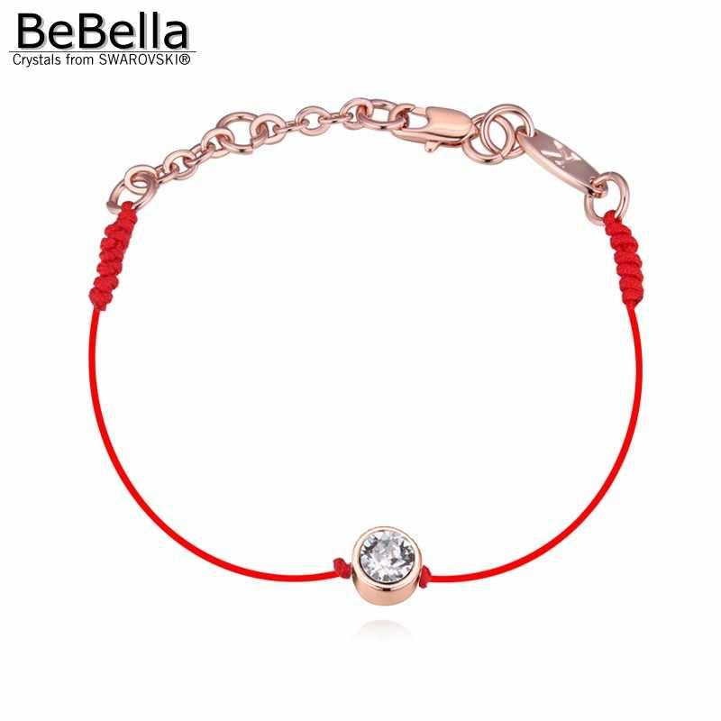 BeBella 薄型赤のスレッド string ロープライン結晶からゴールドカラーメッキチェーン 2018 女性ガールギフト