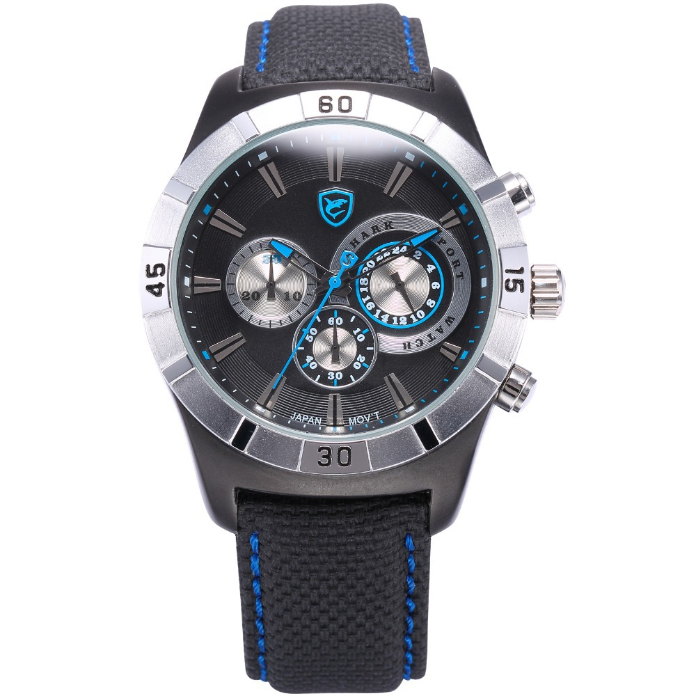 Luxury Brand Shark Sport Watches Men Blue Black Auto Date Chronograph Nylon Strap Quartz Wristwatch Male Military Clock / SH288 universal nylon cell phone holster blue black size l