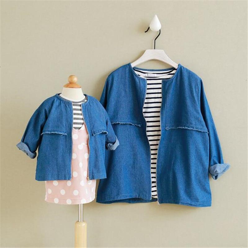 2016 outono   soild roupas da família moda primavera crianças jaqueta de manga  longa de algodão Denim tecido mãe e crianças outerwear casaco 09c59f7d74a